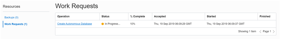 It will start provisioning the database, wait for a while…    Progress can be seen from Work Request Tab Status Column.