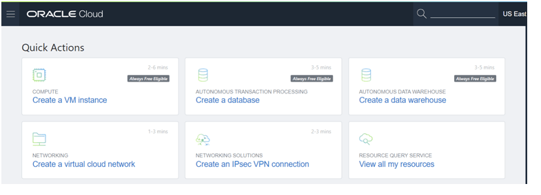 Log into the Oracle Cloud and navigate to the Oracle Cloud Infrastructure (OCI) console.
