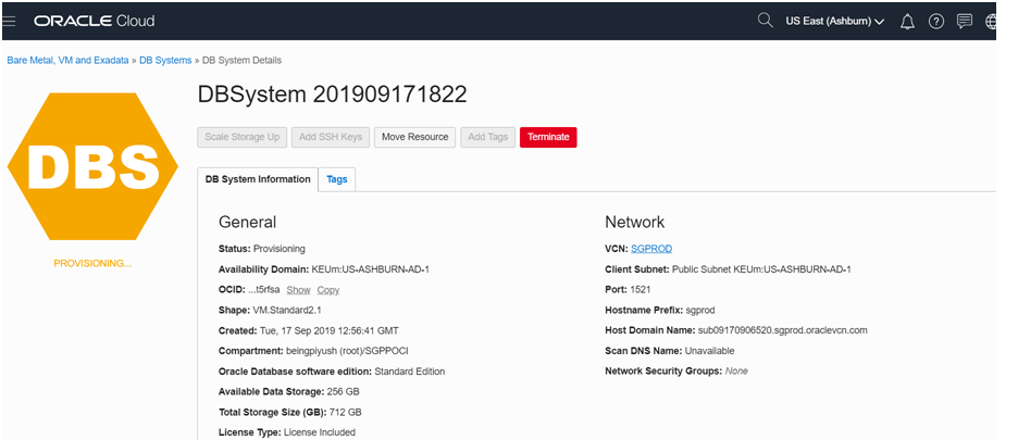 Oracle Cloud Infrastructure (OCI) : Create a Database VM DBsystem