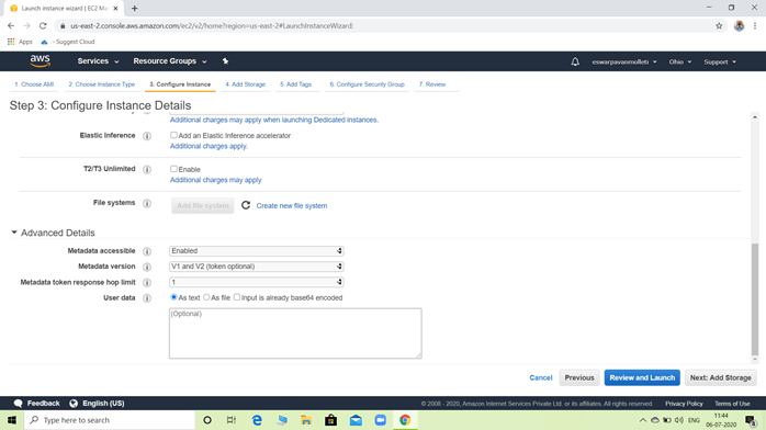Remaining Configure instance page