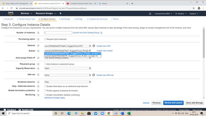 Configuration for Private EC2 instance