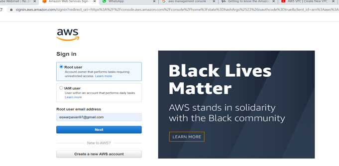 AWS Sign in page