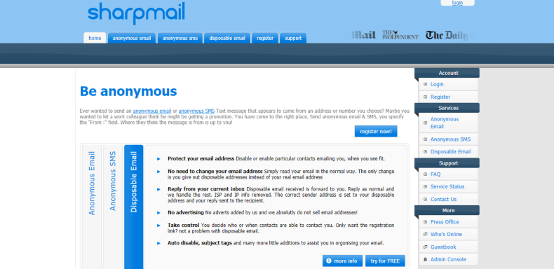 Sharpmail Best anonymous sms website suggestion buddy