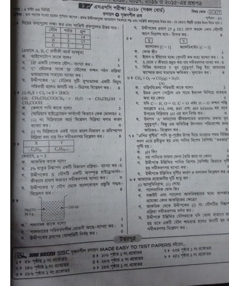 SSC Chemistry Question 2018