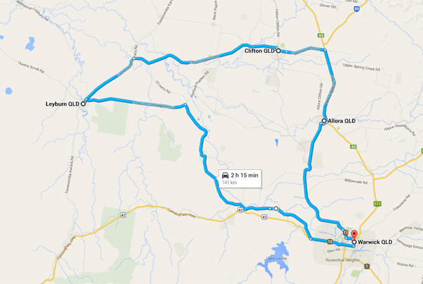 Southern Downs Day Tour Map
