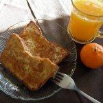 Gluten-free French Toast with fresh Tangerine juice