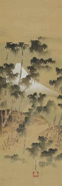 竹林の富士図