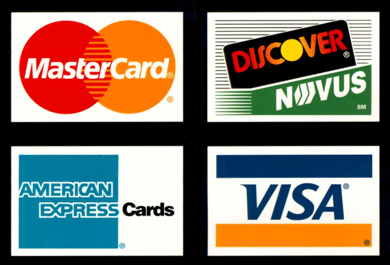 Card We Credit Discover Logo Express Accept American Mastercard Visa