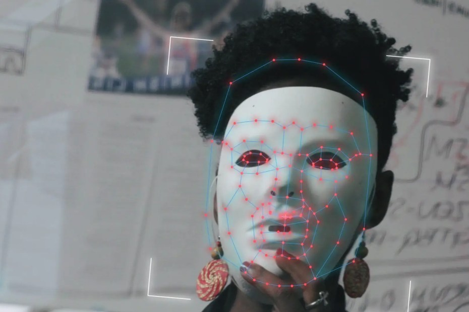 Close up of face with facial recognition mapping points