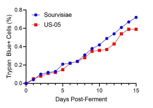 Graph of cell death after fermentation