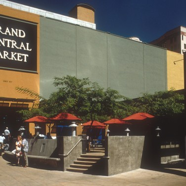 A parking lot was transformed into an outdoor terrace for the historic Grand Central Market