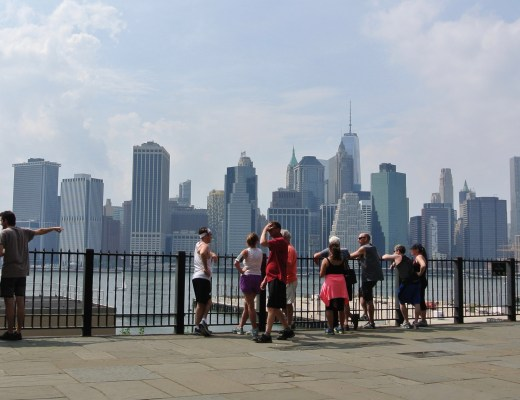 View of the Manhattan skyline from Brooklyn Heights.