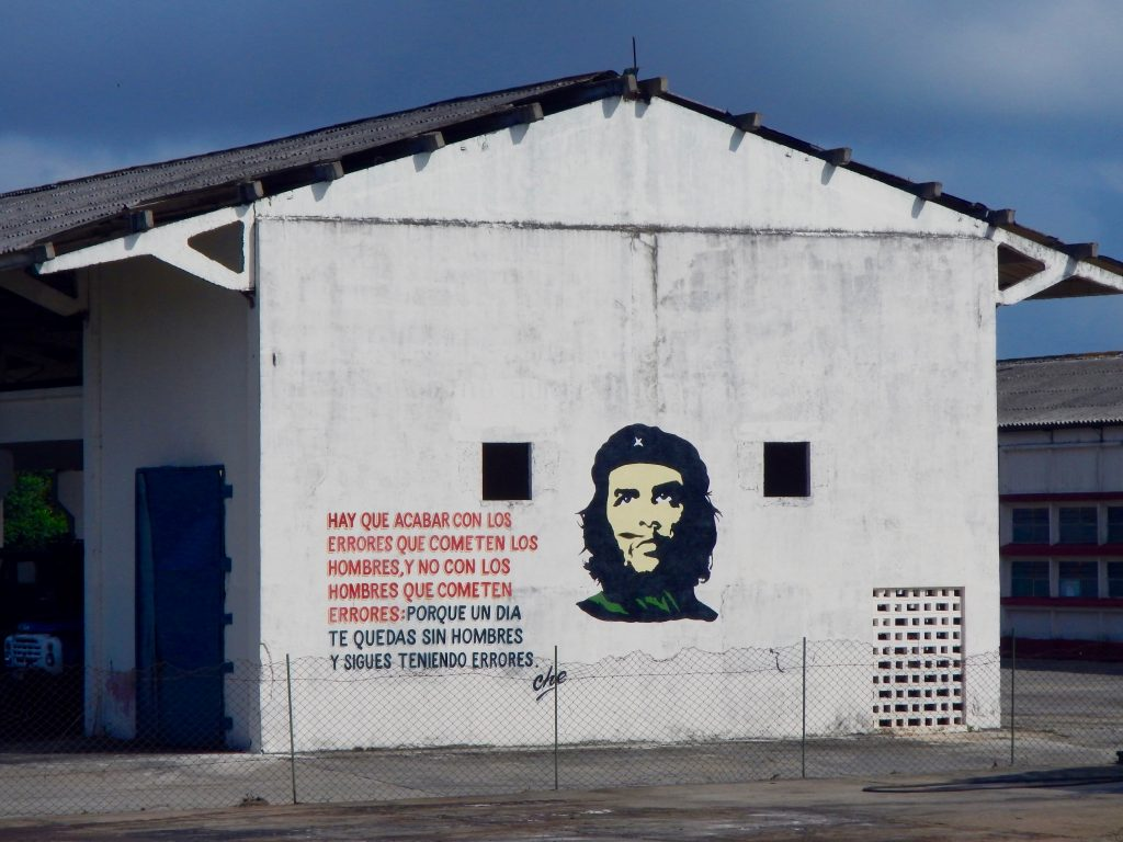 National hero Che Guevara's face on a the side of a building.