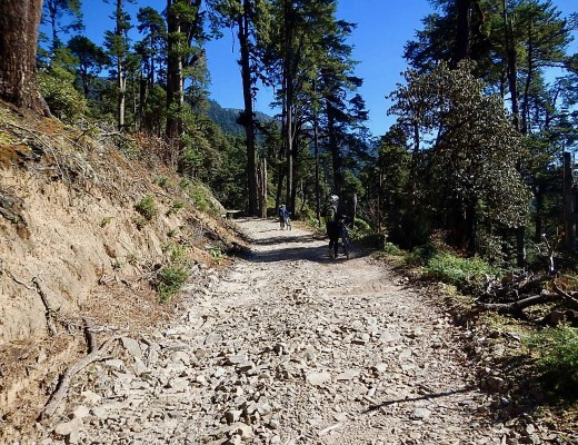 The rough and rocky bike track in Bhutan.