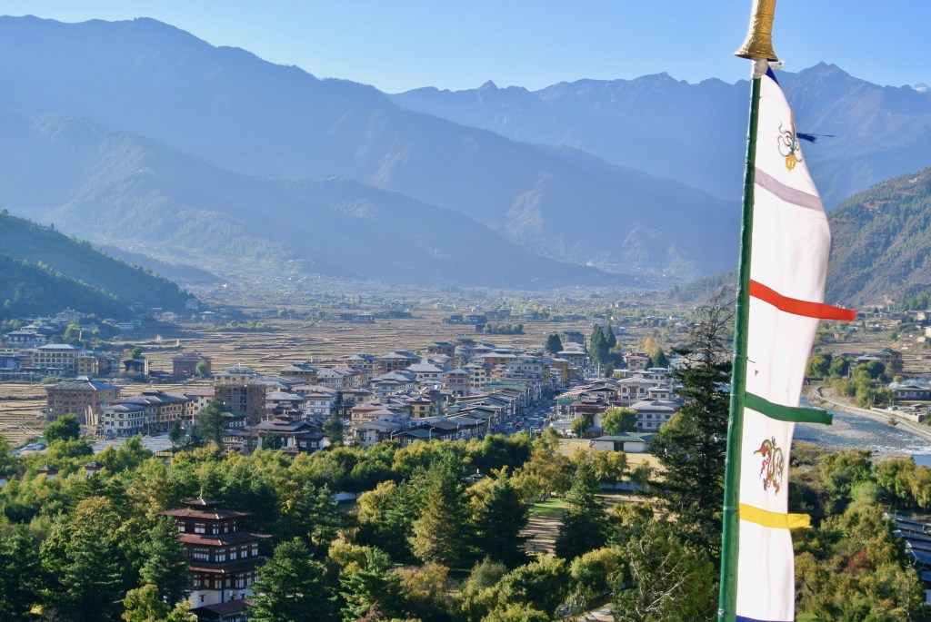 View of Paro town and main street from Rinpung dzong.