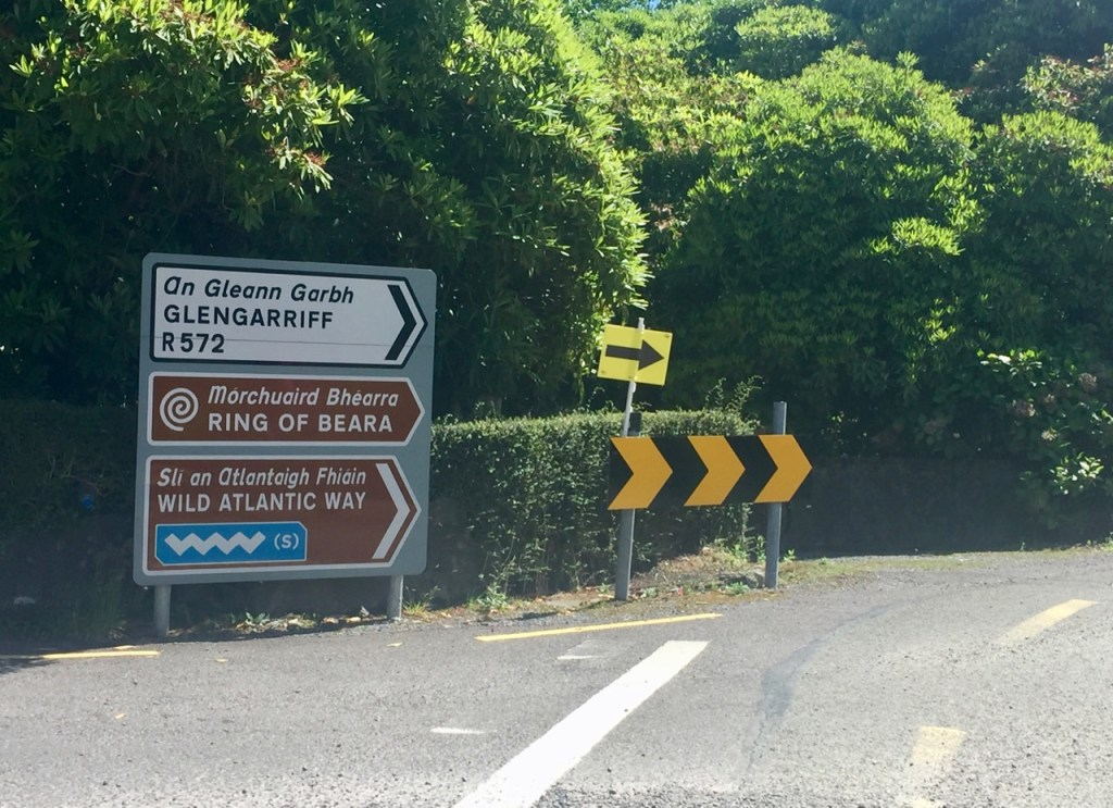 A road sign showing the way on the Ring of Beara bike ride which follows the Wild Atlantic Way in Ireland's picturesque County Kerry.