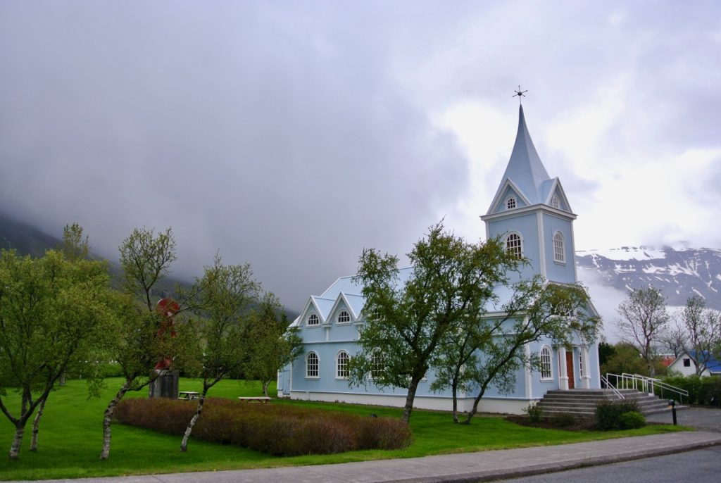 The pretty church in the picturesque town of Seyðisfjörður in East Iceland.