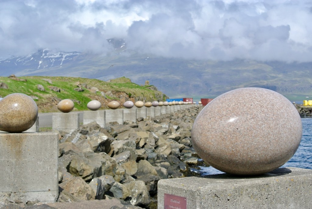 Egg sculpture in Djúpivogur in East Iceland - each egg represents a different bird species from the area.