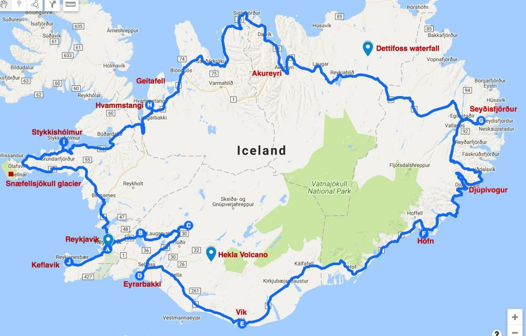 A map showing our 11-day Iceland road trip itinerary, along the Ring Road as well as some side trips.