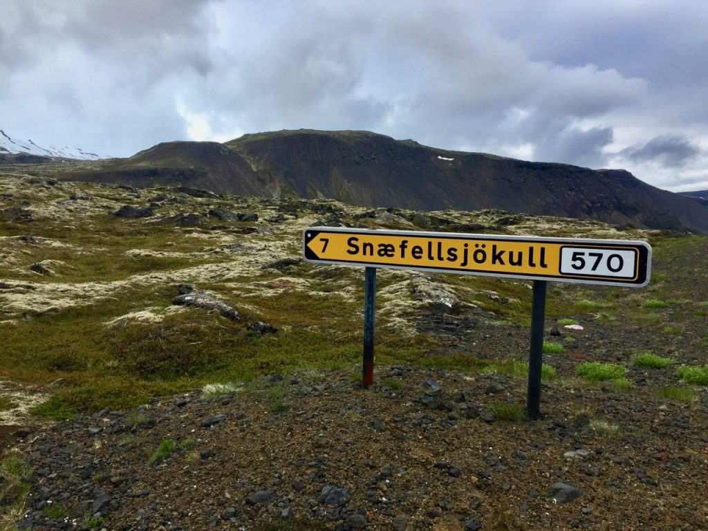 The road to the Snæfellsjökull glacier in West Iceland.