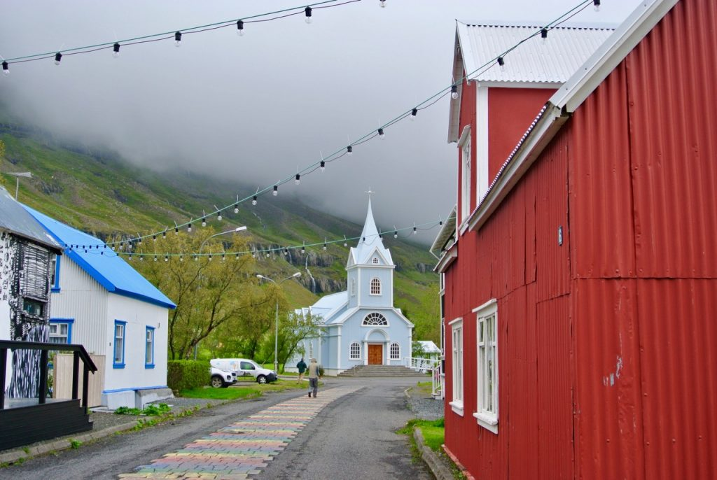 Downtown Seyðisfjörður, a beautiful town in East Iceland, where the popular Icelandic crime series, Trapped, was filmed, and where the boat arrives from Denmark and the Faroe Islands.