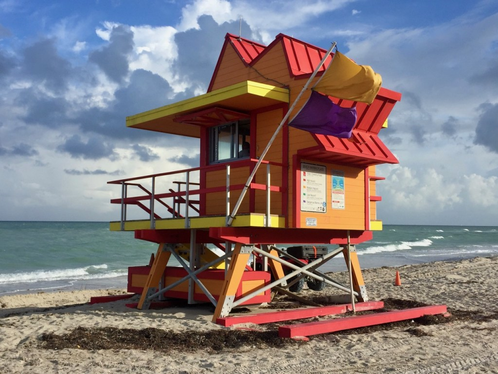 Colourful surf patrol beach hut on South Beach Miami