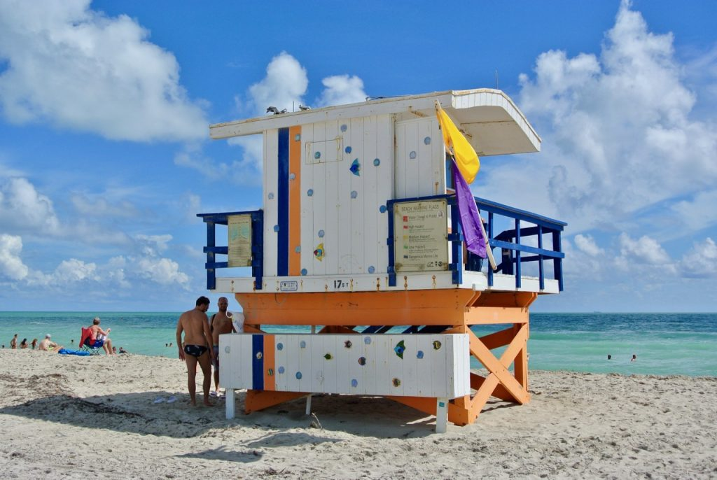 Surf patrol hut on South Beach Miami