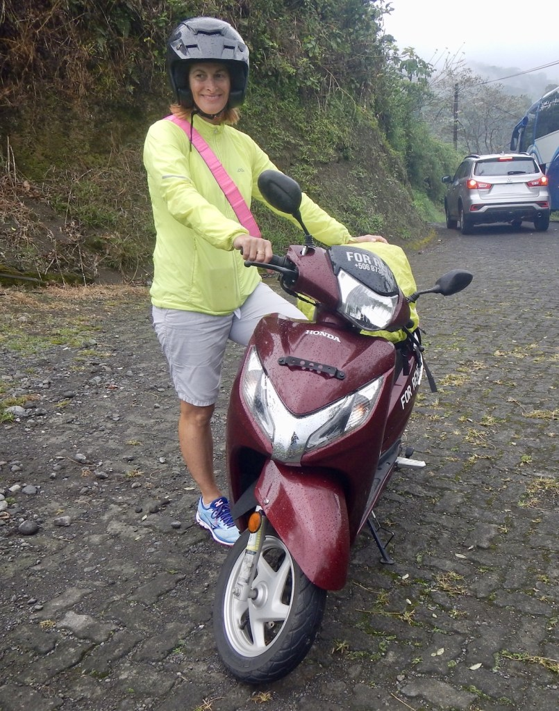Diana with motor scooter in La Fortuna