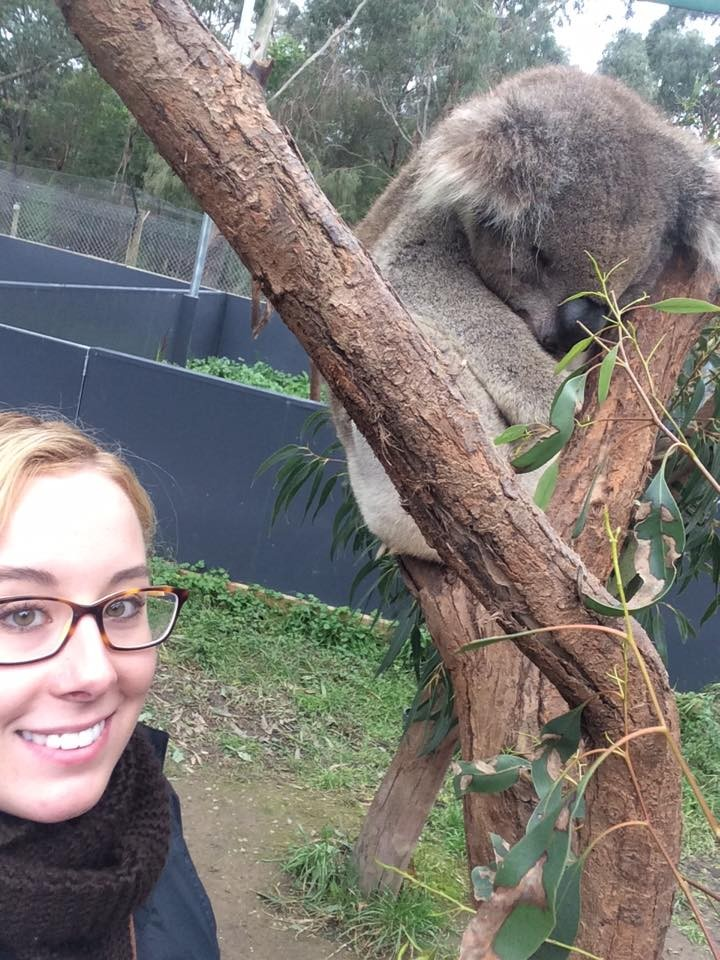 Haley taking a selfie with a koala