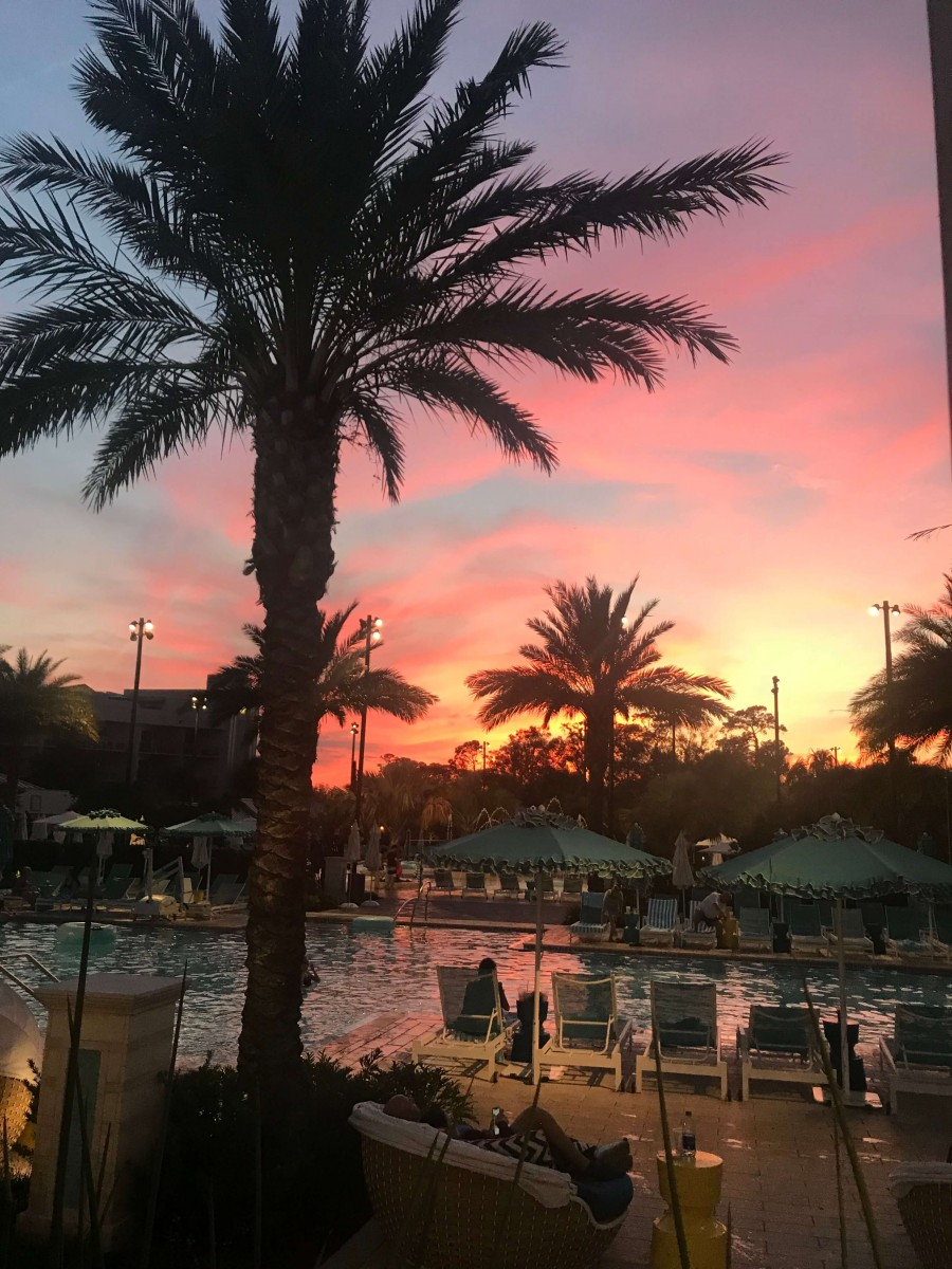 The poolside resort at sunset.