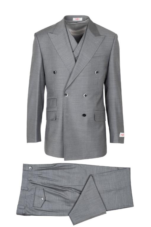 EST E9063_26, Pure Wool, Wide Leg Suit & Vest by Tiglio Rosso