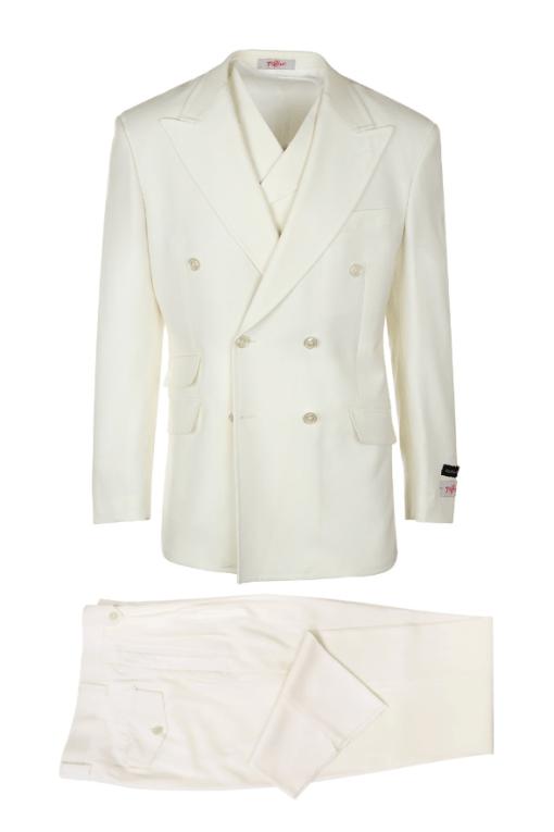 EST OFF-WHITE, Pure Wool, Wide Leg Suit & Vest by Tiglio Rosso