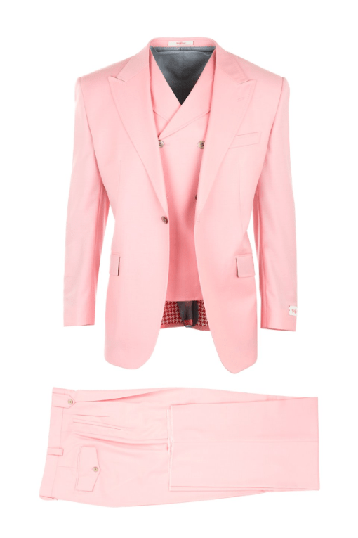 San Giovesse Bubble Gum Pink, Pure Wool, Wide Leg Suit & Vest by Tiglio Rosso TS5134_1