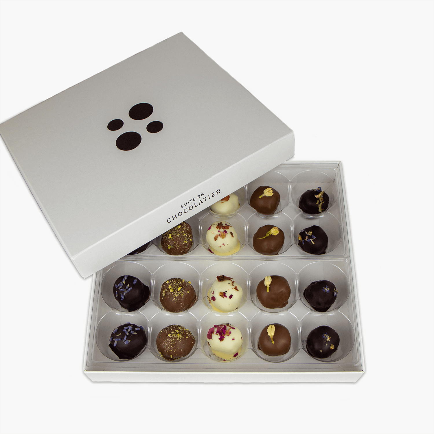 20 piece box of floral truffles