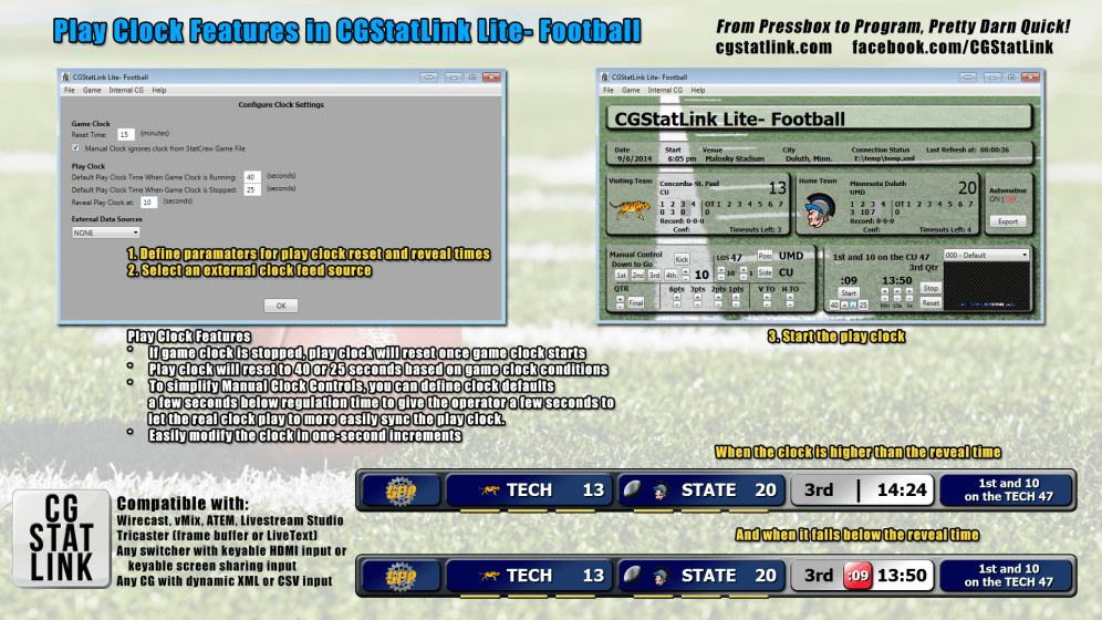 Play Clock Features in CGStatLink Lite- Football