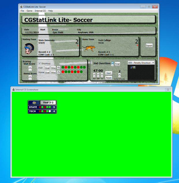 The Internal CG can be run in an independent window to screen share in Wirecast