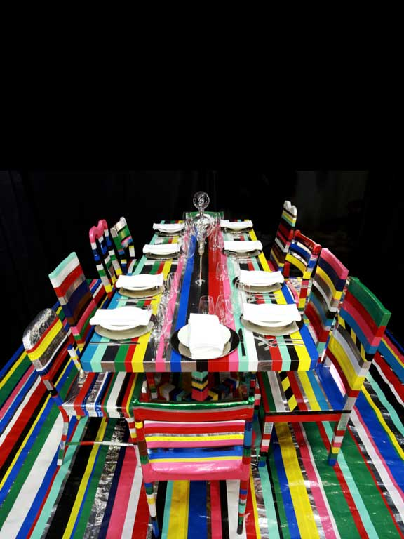 Art installation using duct-tape