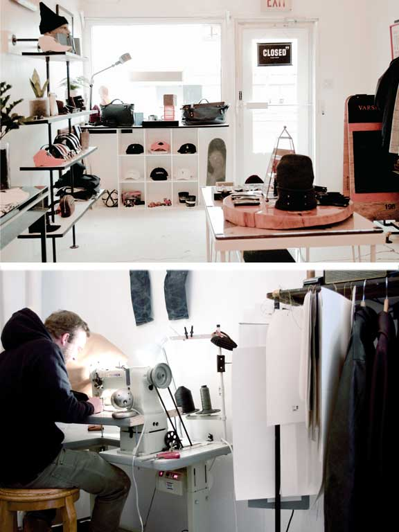 Varsity Brown Interior shot and Matt working at trade