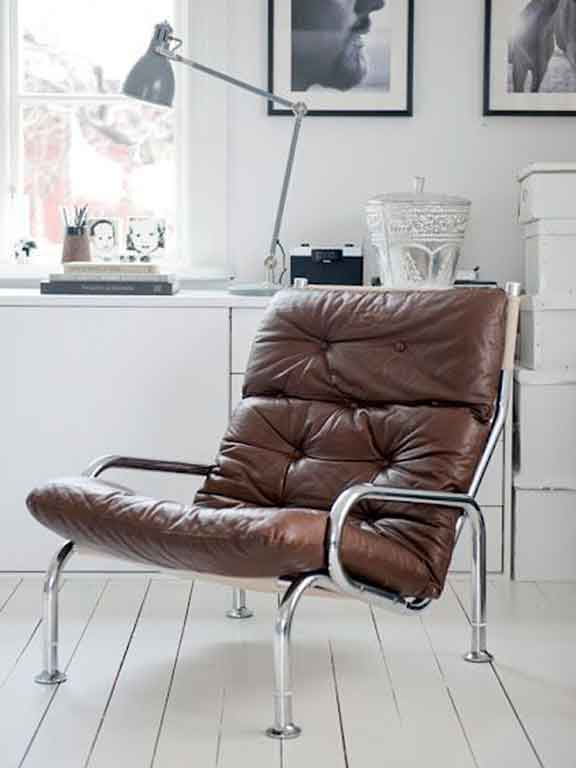 Comfy vintage leather and chrome armchair