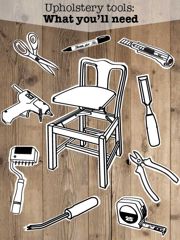 Collage of DIY Upholstery tools
