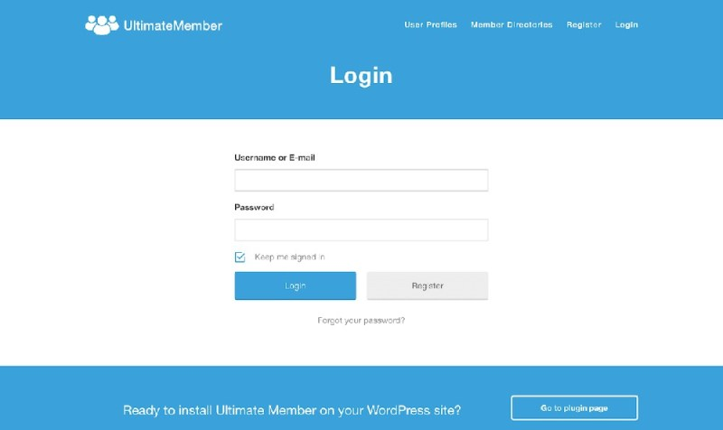 Ultimate Member Login Shortcode on page