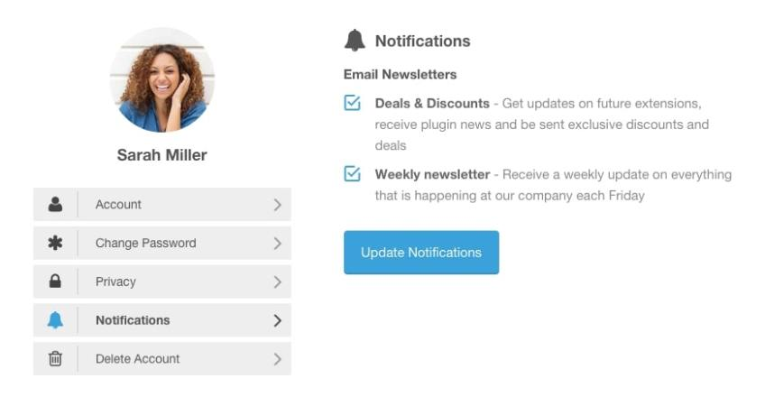 Mailchimp setting on Ultimate Member Account screen