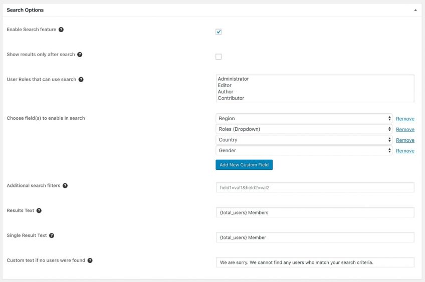 UM Search Configuration