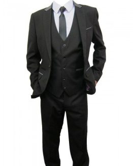 Bobby Black Three Piece Suit With Grey Trim Suit Distributors Cork