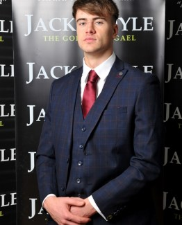 Dark Navy Three Piece Jack Doyle Suit With Red Constrast Suit Distributors Cork