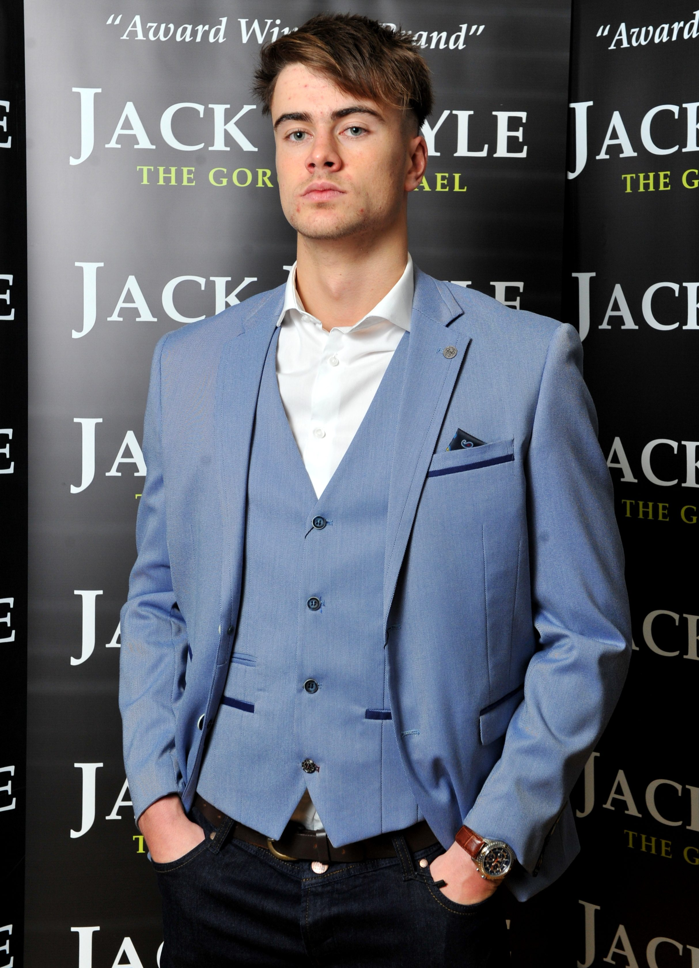 Lee Bexley Stylish Sky Blue Three Piece Suit With Navy Trim | Suits ...