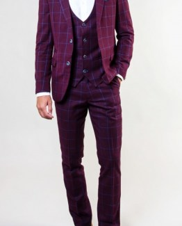 Magnum Wine Grid Check Three Piece Suit Suit Distributors Cork