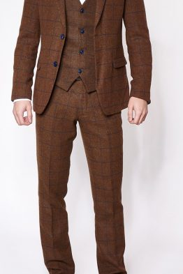 TB4 Brown Tweed Three Piece Designer Suit Suit Distributors Cork