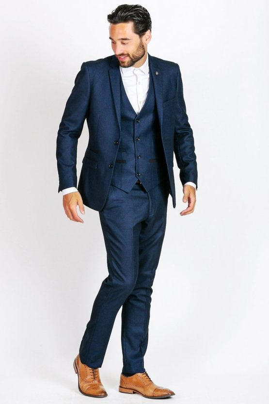 Suits Distributors - Men's Stylish Suits Cork - Callum Navy Three Piece Suit With Black Detailing