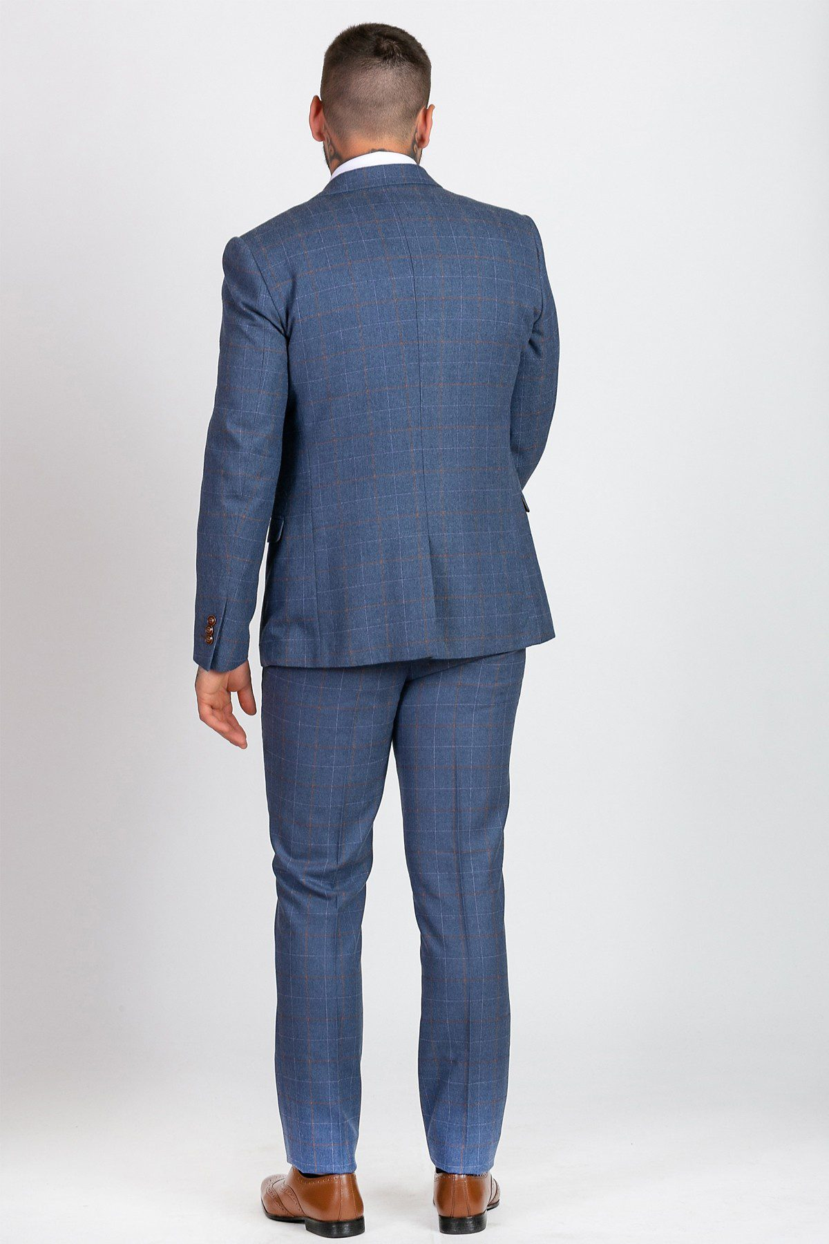 Matthew Sky Blue Tweed Check Three Piece Suit | Suits Distributors